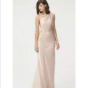 One Shoulder Satin Champagne Evening Gown